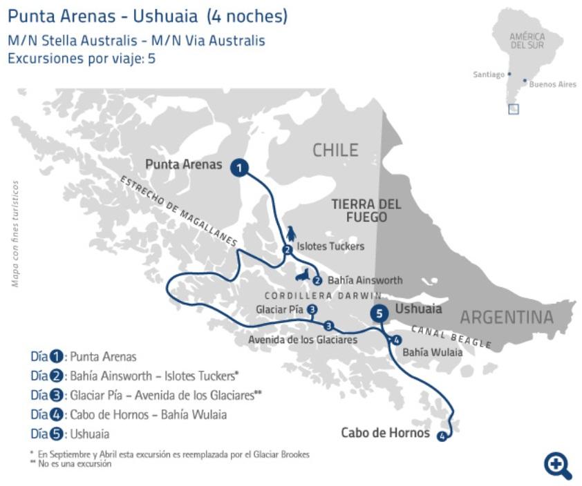 Plan de croisière Australis de Punta Arenas à Ushuaïa