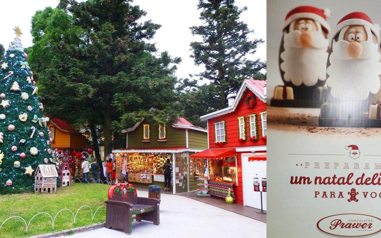 Marché de Noël – Publicité de Fabrique de Chocolat – Gramado, Brésil
