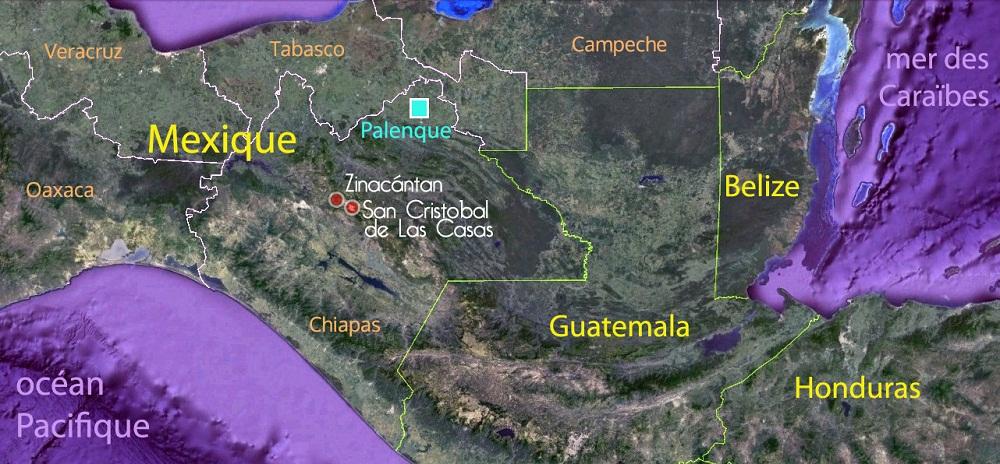Carte de situation du Chiapas et des lieux visités par Virginie