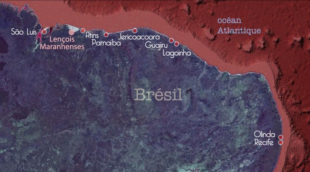Carte des étapes du voyage de Sergio dans le Nordeste au Brésil