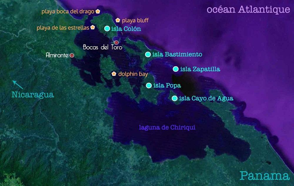 Carte du Panama – étapes du voyage de guillaume – archipel Bocas del Toro