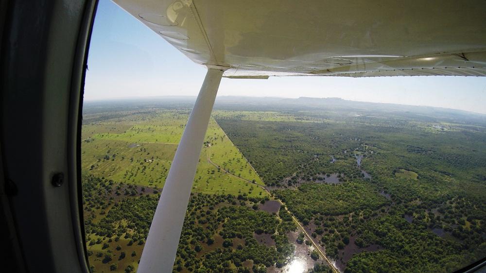 Vue aérienne, survol du Pantanal au Brésil