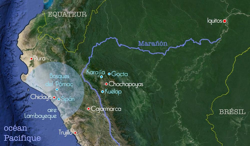 Carte des sites visités par Sergio au Pérou