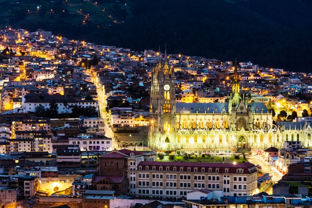 Cathédrale de Quito by night, Equateur