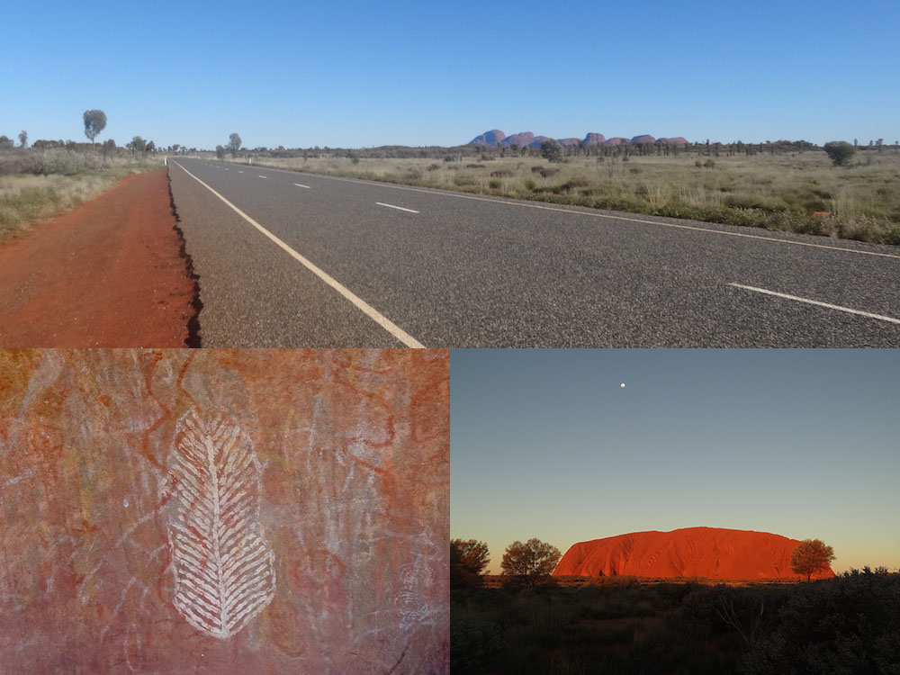 Road trip dans le Centre Rouge ; peintures rupestres aborigènes ; coucher de soleil sur Uluru – Australie