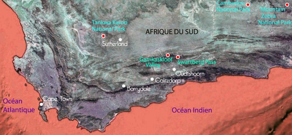 Carte des sites visités par Thibault dans le Karoo, Afrique du Sud